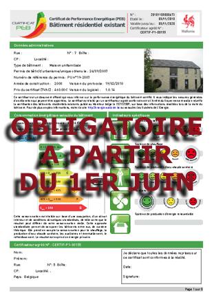 certificat énergétique obligatoire pour le 1er juin 2011